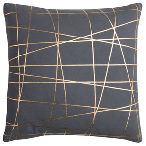 Rachel Kate Abstract Gray and Gold 20 In. Pillow Cover