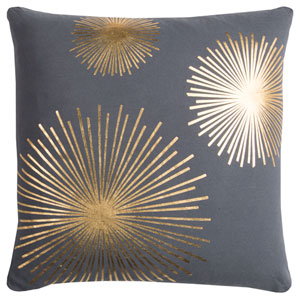 Rachel Kate Starburst Gray and Gold 20 In. Pillow Cover