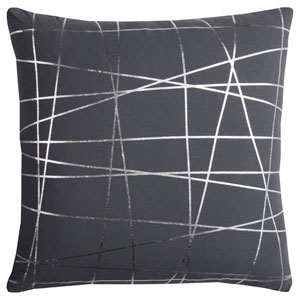 Rachel Kate Abstract Gray and Silver 20 In. Pillow Cover