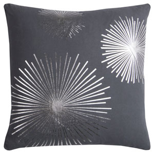 Rachel Kate Starburst Gray and Silver 20 In. Pillow Cover