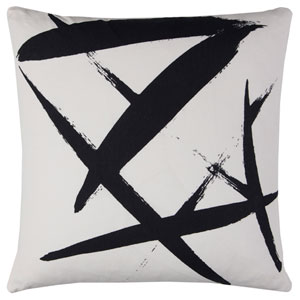 Rachel Kate Abstract Ivory and Black 20 In. Pillow Cover