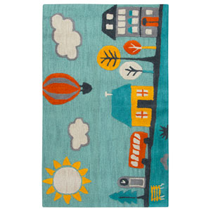 Play Day  Aqua Rectangular: 3 Ft. x 5 Ft.  Rug