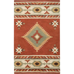 Southwest Rectangle: 5 Ft. x 8 Ft. Navajo Red Rug
