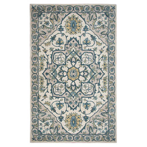 Valintino Ivory and Cream Rectangular: 8 Ft. x 10 Ft.  Rug