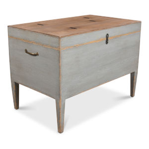Gray Trunk Side Table with Secret Storage