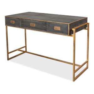 Gray Grey Leather Shagreen Desk