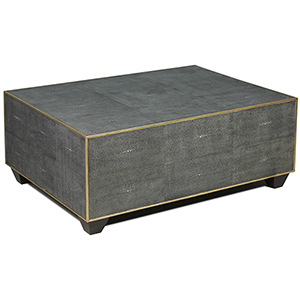 Gray Leather Shagreen Cocktail Table