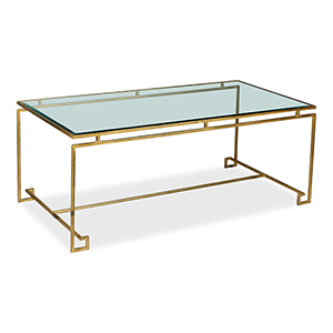Antique Gold Parallel Lines 24-Inch Coffee Table
