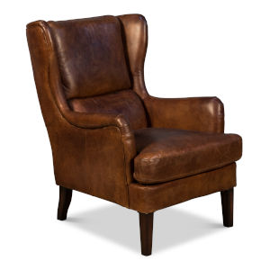 Brown Elite Wing Lounge Chair