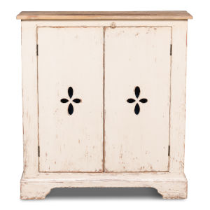 White 11-Inch Pierced Doors Wall Commode