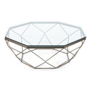 Transparent 44-Inch Faceted Hexagon Coffee Table