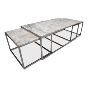 Silver Nesting Low Table, Set of Three