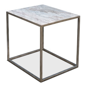 Silver 22-Inch Cube Side Table Marble