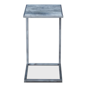 Silver 14-Inch Marble Top Laptop Table