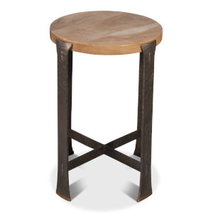Tan 18-Inch Forged Slats Side Table