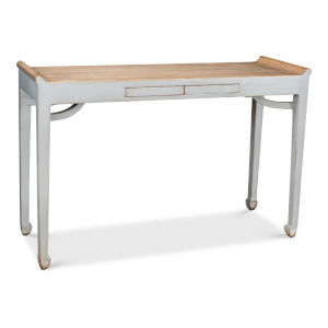 Gray Console Table with Two Push Drawers