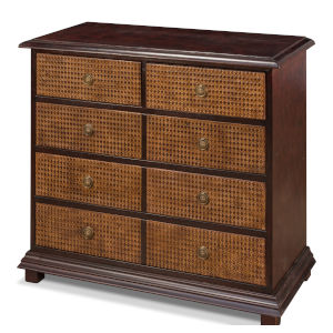 Brown All Leather Embossed Chest Of Drawers