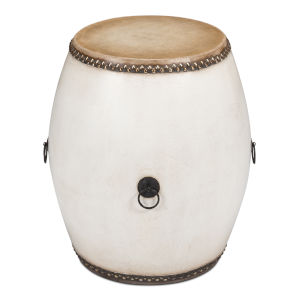White Drum End Table