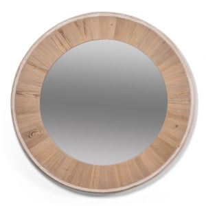 White 30 x 30 Inches Circular Wood Mirror