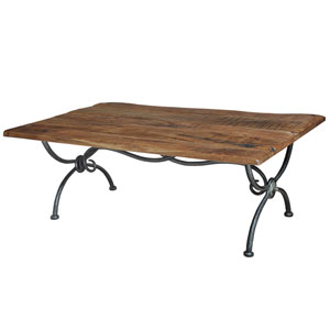 Iron-Natural Antique Ranch Cocktail Table