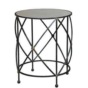 Drum and Fife Lamp Table, Aged White Marble