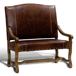 Oak Leather Italian Settee
