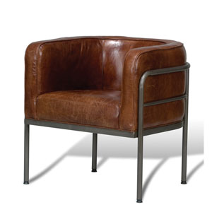 Aged Metal and Cuba Brown Breda Chair
