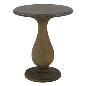 Round Side Table with Bluestone Top