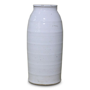 White Ceramic Milk Jar, Large