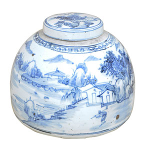 Village Ceramic Lidded Urn