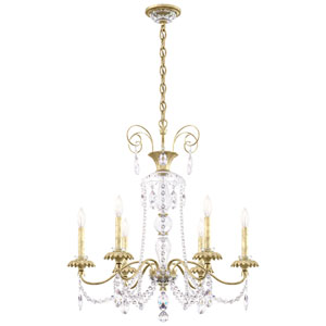 Helenia Heirloom Silver Six-Light Chandelier with Clear Heritage Crystal