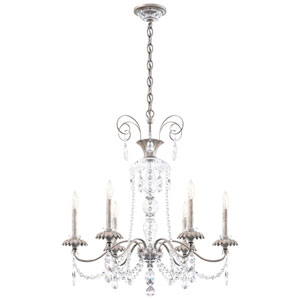 Helenia Antique Silver Six-Light Chandelier with Clear Heritage Crystal
