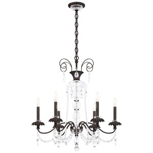 Helenia Black Six-Light Chandelier with Clear Heritage Crystal