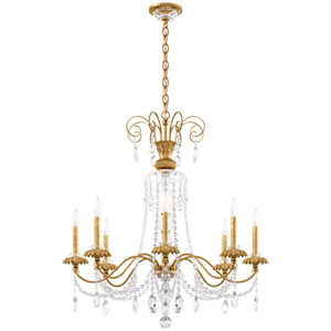 Helenia Heirloom Gold Eight-Light Chandelier with Clear Heritage Crystal