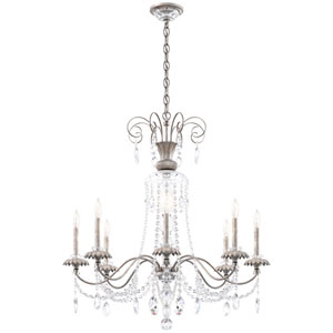 Helenia Antique Silver Eight-Light Chandelier with Clear Heritage Crystal