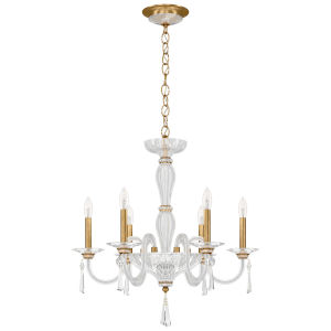 Savannah Heirloom Gold Six-Light Chandelier with Clear Heritage Crystal