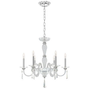 Savannah Polished Silver Six-Light Chandelier with Clear Heritage Crystal