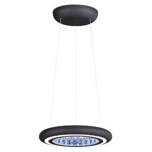 Infinite Aura Black 15-Inch LED Pendant with Swarovski Crystal