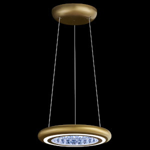 Infinite Aura Glimmer Gold 15-Inch LED Pendant with Swarovski Crystal
