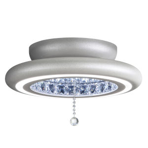 Infinite Aura Glimmer Silver 15-Inch LED Flush Mount with Swarovski Crystal Pendalogue