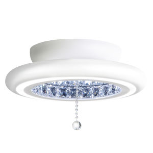 Infinite Aura White 15-Inch LED Flush Mount with Swarovski Crystal Pendalogue