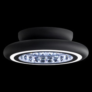 Infinite Aura Black 15-Inch LED Flush Mount with Swarovski Crystal
