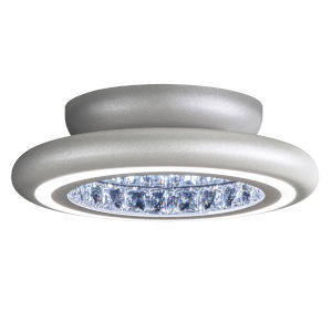 Infinite Aura Glimmer Silver 15-Inch LED Flush Mount with Swarovski Crystal