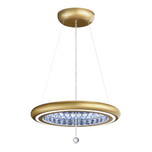 Infinite Aura Glimmer Gold 23-Inch LED Pendant with Swarovski Crystal Pendalogue