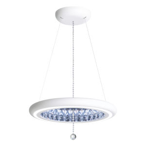 Infinite Aura White 23-Inch LED Pendant with Swarovski Crystal Pendalogue