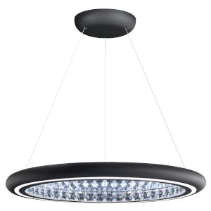 Infinite Aura Black 30-Inch LED Pendant with Swarovski Crystal