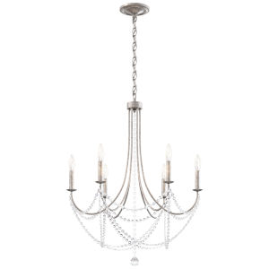 Verdana Antique Silver Six-Light Chandelier