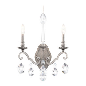Renaissance Nouveau Antique Silver Two-Light Wall Sconce