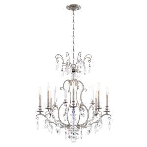 Renaissance Nouveau Antique Silver Eight-Light Chandelier
