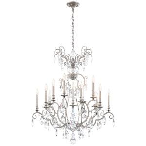 Renaissance Nouveau Antique Silver 12-Light Chandelier
